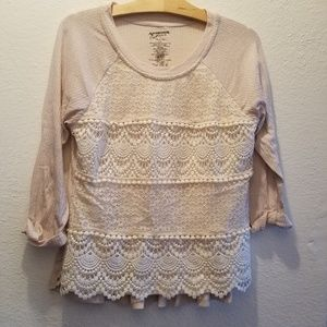 Beige Knitted Front Blouse